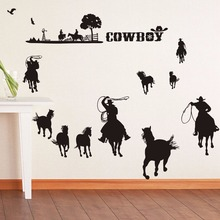 цена на Cowboys Wall Decal Removable Vinyl Wall Sticker Cowboys Set Wall Art Mural New Design Western Cowboys Style Wallpaper AY0248