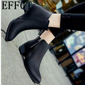 147ca904aeba EFFGT leather Pointed toe Martin boots women casual shoes