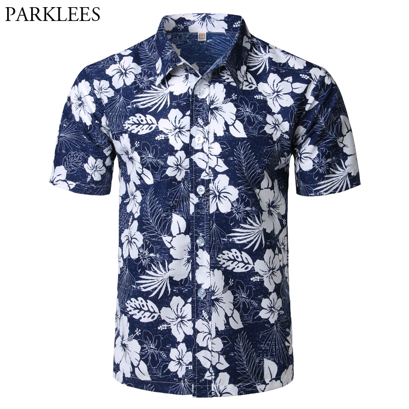 PARKLEES Summer Beach Hawaiian Shirt 2018 Short Sleeve Plus Size Floral Shirts Men