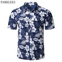 Для мужчин s летние пляжные гавайская рубашка 2018 бренд короткий рукав плюс Размеры цветочные рубашки Для мужчин Повседневное праздник одеж...