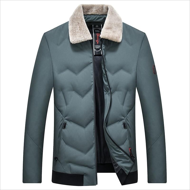 Men's Duck   Down   Jacket Slim Collar Detachable Warm   Down     Coat   for Men Male
