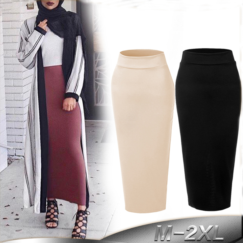 US $18.0 55% OFF|Plus Size Faldas Mujer Moda 2019 Spring Abaya Muslim Skirts Womens High Waist Long Bodycon Maxi Skirt Jupe Longue Femme