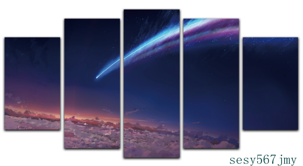 Art  Abstract  Indoor  Decor mt  Anime cosplay A20  your name Comet Crash canvas decoration 5 piecesArt  Abstract  Indoor  Decor mt  Anime cosplay A20  your name Comet Crash canvas decoration 5 pieces