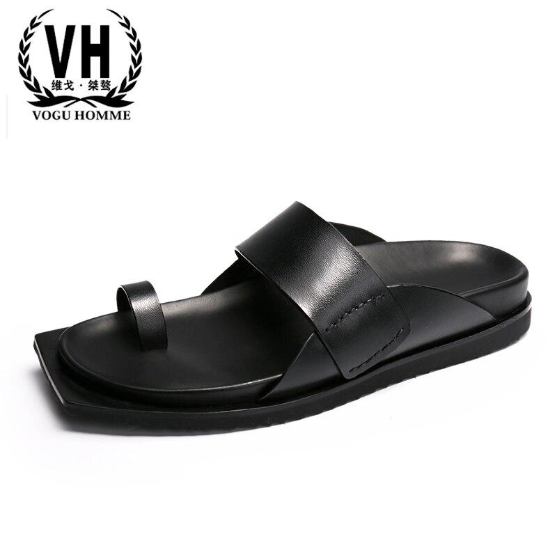 الصيف الرجال الصنادل كل مباراة جلد البقر رياضية شبشب رجالي الوجه يتخبط حذاء كاجوال الشاطئ في الهواء الطلق جلد طبيعي الترفيه الذكور-في شباشب من أحذية على  مجموعة 1