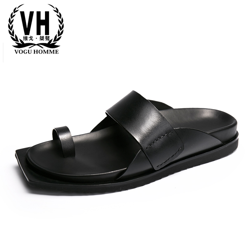 summer men's sandals all-match cowhide Sneakers Men Slippers Flip Flops casual Shoes beach outdoor Genuine leather Leisure male summer men s slippers leather breathable doug british leisure sandals lazy sneakers men flip flops casual shoes beach outdoor