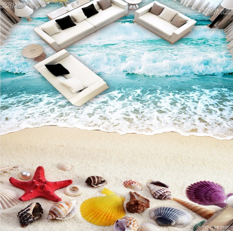 Free Shipping Beach sand shell surf 3D floor tiles wear non-slip waterproof living room lobby bedroom flooring wallpaper mural каталог byt