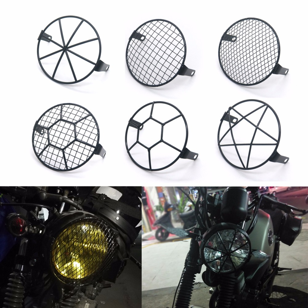 """Brackets Cafe Racer 6.3/"""" Grill Retro Cruiser Motorcycle Side Mount Headlight"""