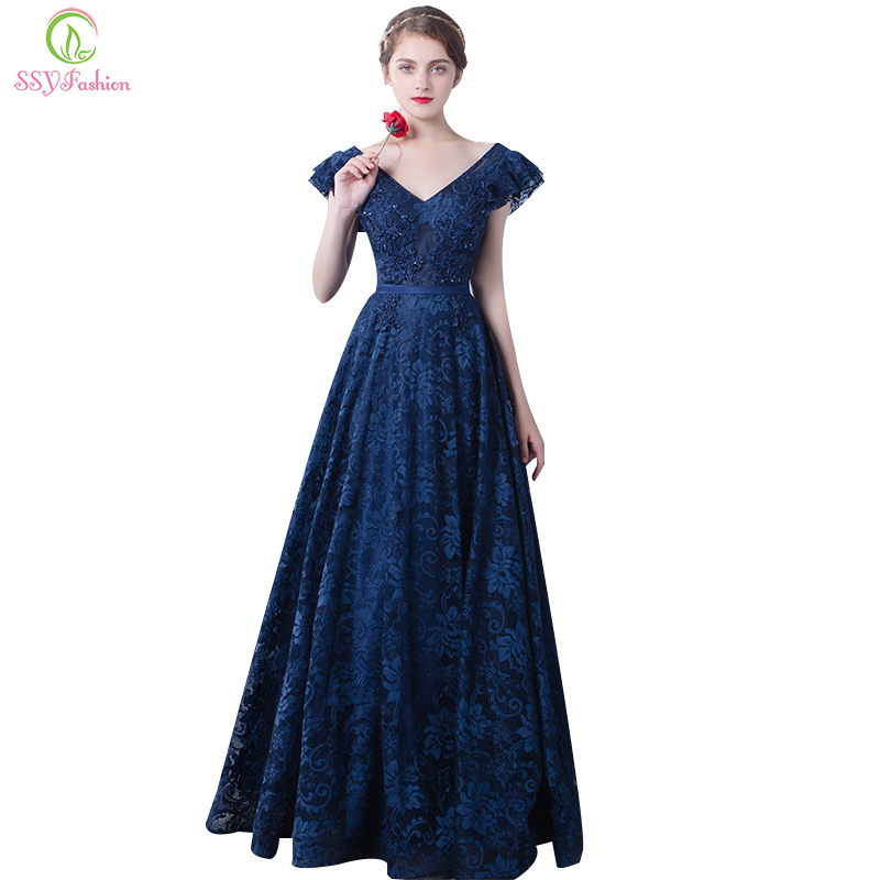 Robe De Soiree Long   Evening     Dress   Long 2017 SSYFashion Bride Blue Lace V Collar Floor-length Elegant Banquet Party Prom   Dresses