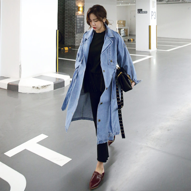 TREND-Setter 2017 Autmn and Winter Light Blue Denim   Trench   Women Slim Jean Long Coat Long Sleeve Streetwear Loose Outwear