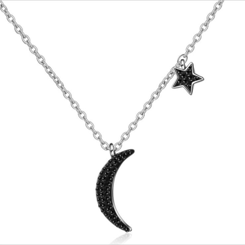 TJP New Fashion Zircon Black Moon Star Female Pendants Necklace Jewelry Women 925 Silver Choker Necklace For Girl Accessories