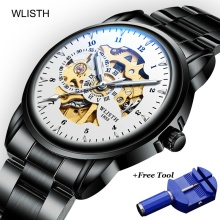 WLISTH Mechanical Men Watch Leather Men's Hollow Mechanical Waterproof Watch Male Luminous Mens Stainless Steel Wristwatch 2019 muhsein watch fully automatic mechanical watch male luminous waterproof stainless steel genuine leather watchband mens watch