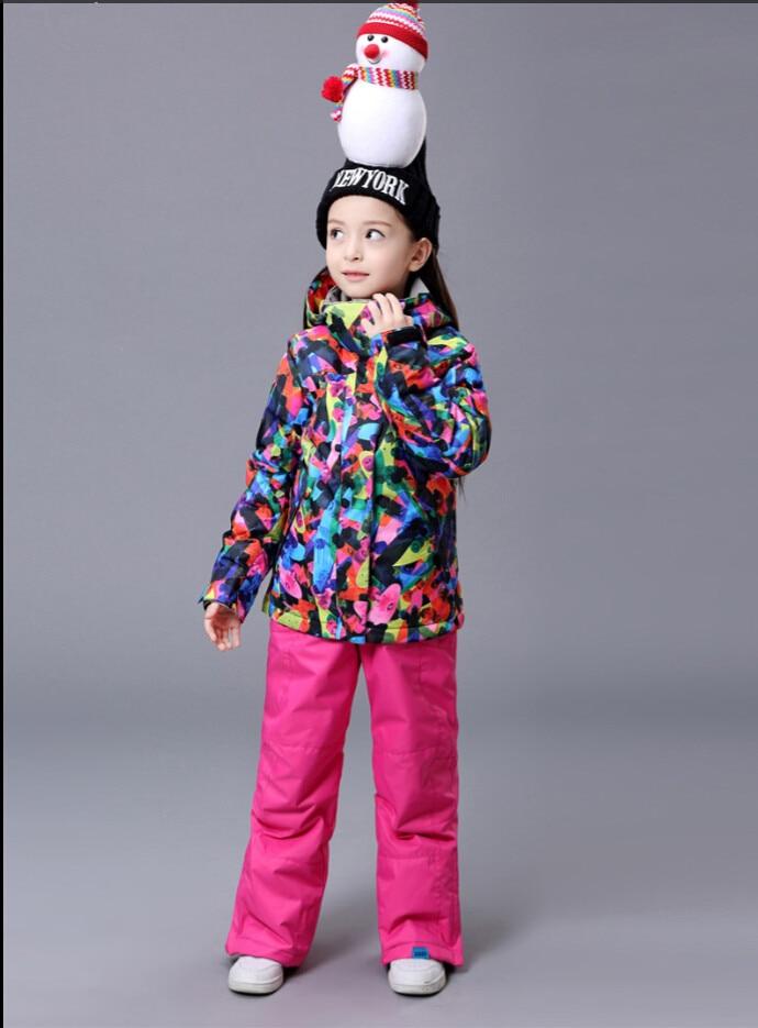Girls Ski Suit Snowboard Jacket Pant Windproof Waterproof Outdoor Sport Wear Gsou Snow Band Kids Super Warm Suit Set Children brand gsou snow technology fabrics women ski suit snowboarding ski jacket women skiing jacket suit jaquetas feminina girls ski