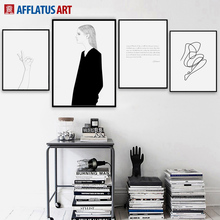 Line Girl Hand Quotes Nordic Posters And Prints Black White Wall Art Canvas Painting Pop Pictures For Living Room Decor