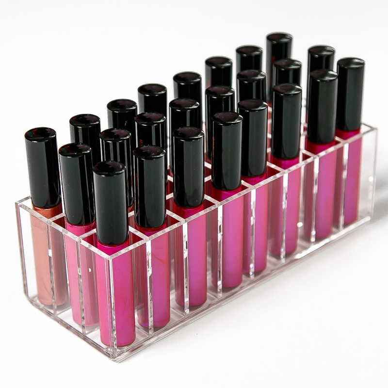 New Clear Acrylic 24 Grids Lipstick Holder Makeup Organizer Nail Polish Rack Desktop Cosmetic Storage Box Lip Gloss Case