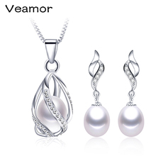 VEAMOR 925 Sterling Silver Earrings Necklace Jewelry Set AAAA Freshwater Pearl Jewelry Wedding Party New Women Free Shipping