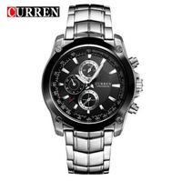 2018 Curren Luxury Brand Men S Luxury Black Stainless Steel Analog Quartz Watch Men New Fashion
