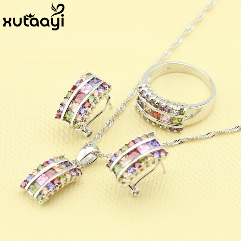 XUTAAYI Multicolor Stones Fashion 925 Silver Jewelry Sets For Women Superb Necklace Rings Earrings Wedding Jewelry