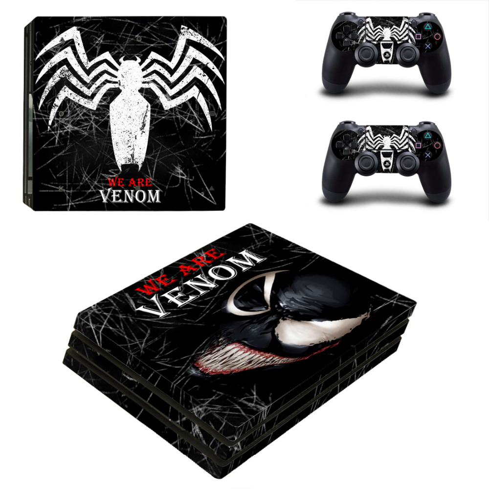 Venom and Spider-man PS4 Pro Skin Sticker Decal for PlayStation 4 Console and 2 Controllers PS4 Pro Skin Sticker Vinyl