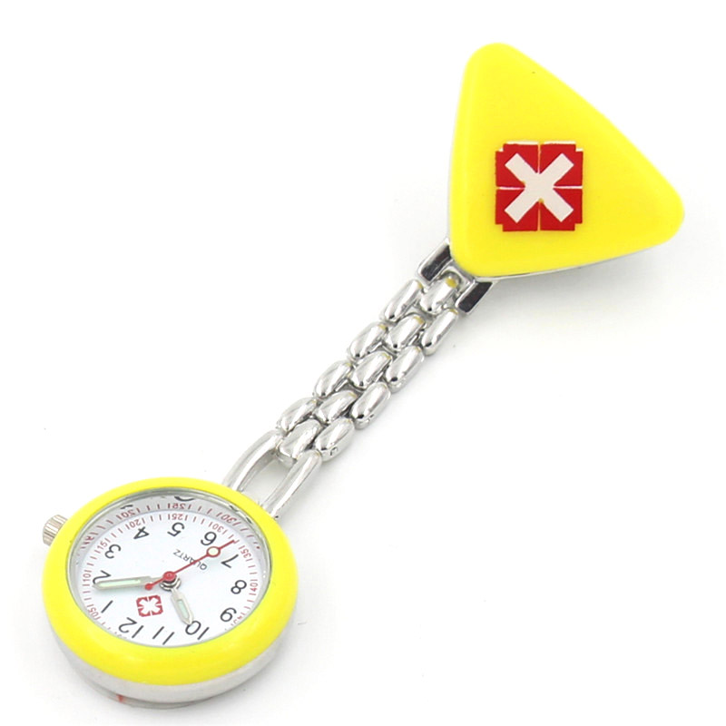 Protable Nurse Watches With Clip Red Cross Brooch Pendant Pocket Hanging Doctor Nurses Medical Quartz Watch TY53