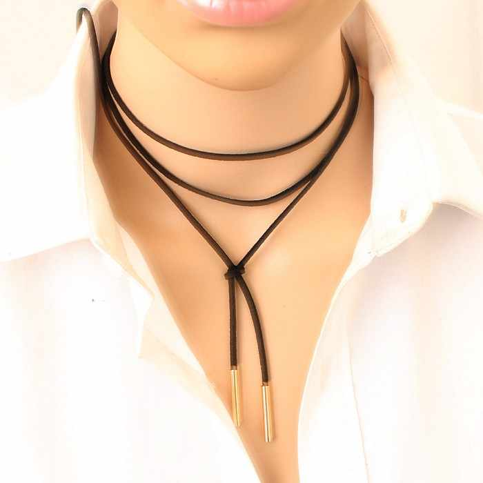 2018 Fashion Torques Pure Black Velvet Leather Feather Cross 150cm Long Necklace False Collar Chokers Necklace For Women Jewelry