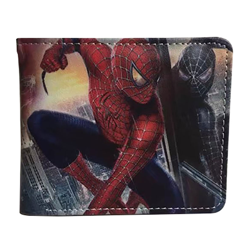 New Anime Style Spiderman Men Wallet PU Leather Card Holder Purse Dollar Price Boys Girls Short Wallets with Zipper Coin Pocket 2016 new arriving pu leather short wallet the price is right and grand theft auto new fashion anime cartoon purse cool billfold