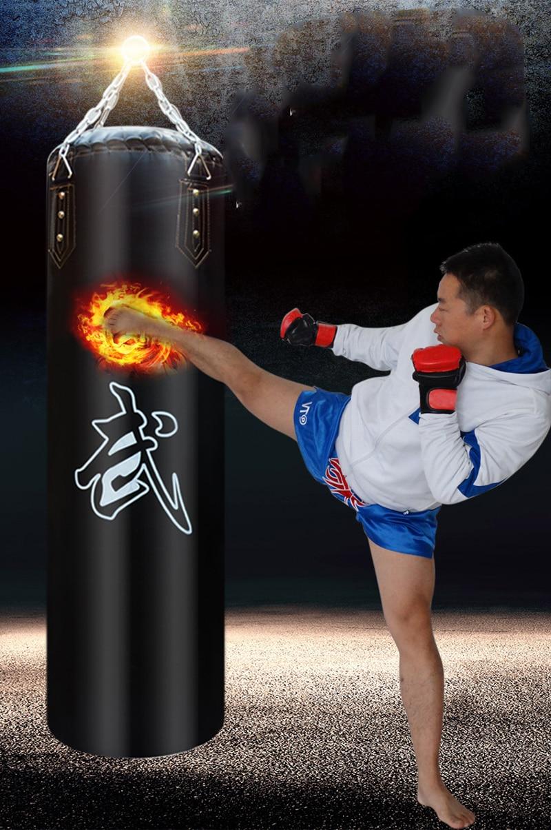 60 80cm 100cm 120cm Adult Multi layer Sandbag Boxing mma Fight Martial Arts Muay Thai Men Empty PU Leather Sand Bag Punching Bag in Punching Bag Sand Bag from Sports Entertainment