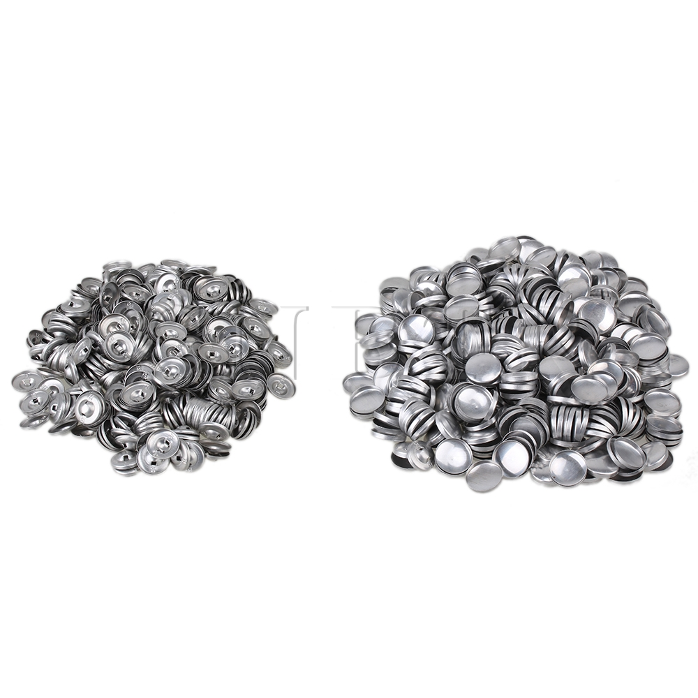 CNBTR Silver 19mm Dia Aluminum Fabric Cover Buttons 32L Self Cover Cabochon DIY Buttons Pack of 500