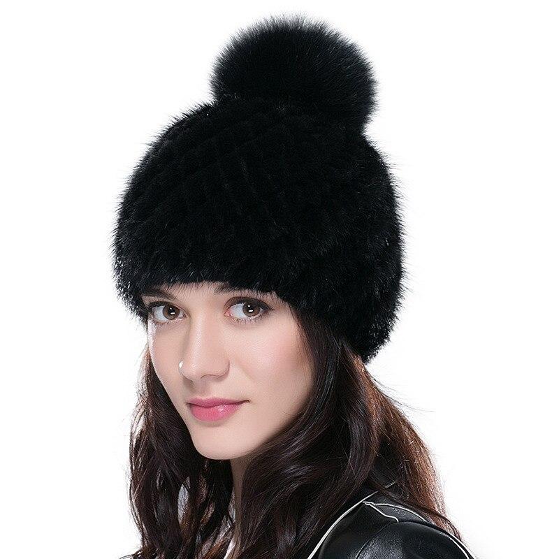 Sombreros de piel de visón real ENJOYFUR para mujer gorro de piel de visón  tejido de 7ea15ac70a0