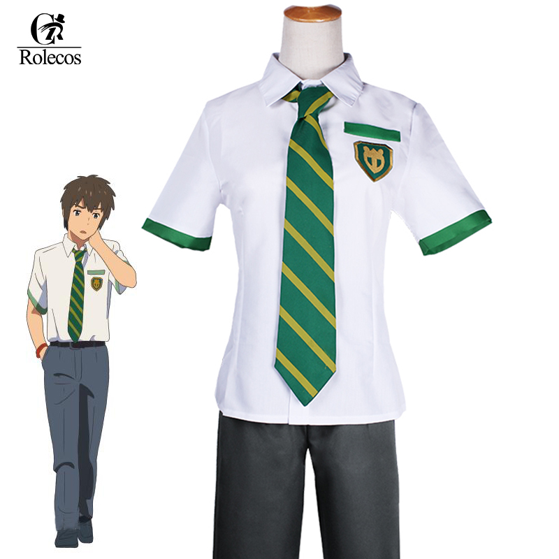 Rolecos Japanese Anime Kimi no Na wa Your Name Tachibana Taki Cosplay Costume Miyamizu Mitsuha Cosplay School Uniform Costume