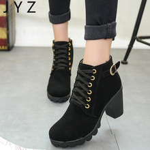 Fashion New Womens High Heels Casual Ankle Boots Lace Up Leisure Shoes Lady aa0506