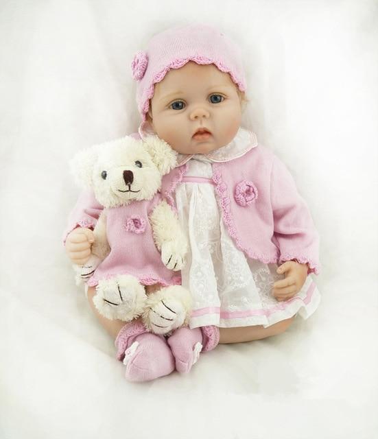 Bella 22 pollice Bambole Del Bambino Rinato Realistico Del Silicone Morbido 55 cm I Bambini Bambole di Vita Reale Con Il bambino Orso Giocattolo In Modo veramente Bambini Compagni di gioco