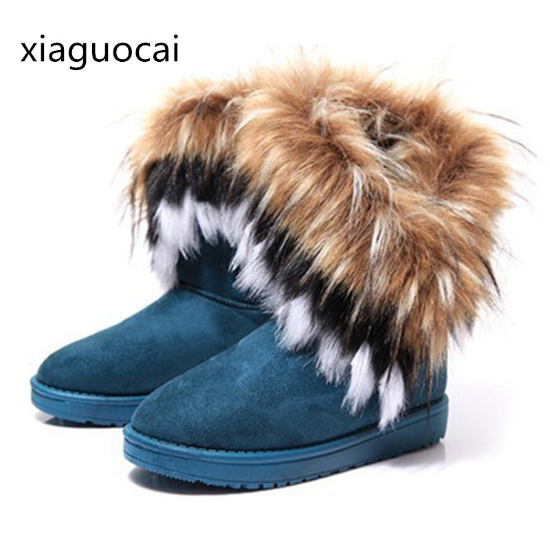 Australia Fashion Winter Women Boots Fur Waterproof Warm Female Snow Boots Slip-on Flat Solid Ankle Boots Z486 35 nemaone 2017 new snow boots women winter black flat platform ankle boots ladies fur warm australia boots