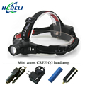 2000 lumen mini headlamp zoomable rechargeable led headlight cree q5 flashlight head torch 4 mode18650  battery or aaa head lamp