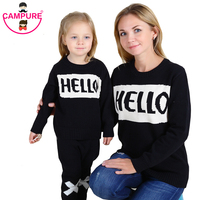 2017 Family Letter HELLO BYE Thickening Sweaters Clothing Mom And Daughter Son Mother Matching Clothes Winter