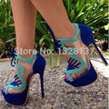 Casual Suede Shoes US 14 Open Toe Lace Up Platforms Pumps Blue High Heel Women Shoes zapatos mujer sapatos femininos salto alto