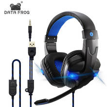 DATA FROG For PS4 Gaming Headset Wired PC Stereo Earphones Deep Bass Headphones With Microphone For Xbox One/Laptop Tablet Gamer salar kx101 gaming headset wired headphones deep bass earphone headband stereo sound with microphone for pc gamer