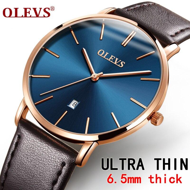 a99e39a7a21 Ultra fino Relógios Top marca de Luxo de Couro Genuíno dos homens Casual  Relogio masculino Masculino Relógio de Quartzo relógio de Pulso dos homens  À Prova ...