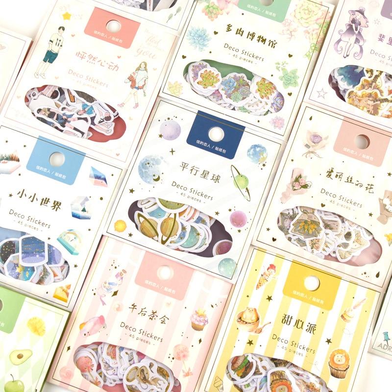 45 Pcs//pack Magic Planet Animals Decorative Stickers Scrapbooking Stick Label Di