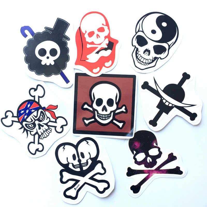 8pcs/lot Cool Spoof skulls DIY stickers For motorcycles notebook skateboard suitcase Waterproof sunscreen decor decals toys