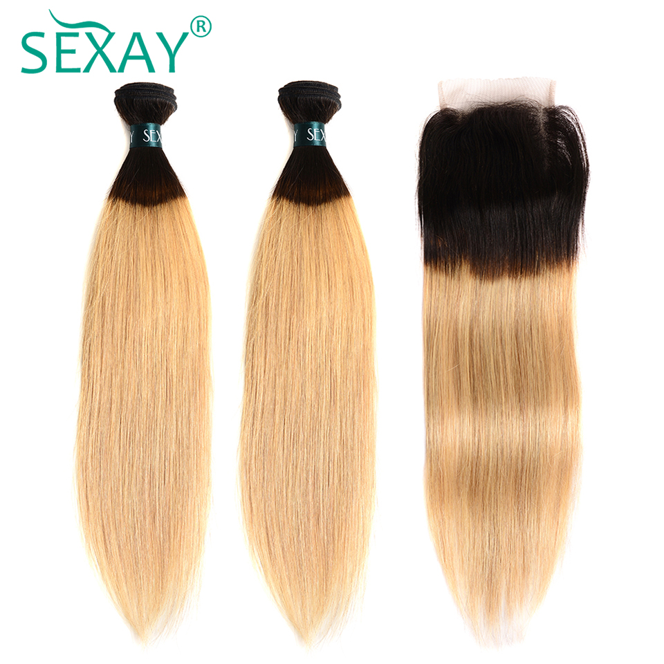 1B 27 Blonde Brazilian Straight Hair Bundles With Closure Non Remy Hair SEXAY Dark Roots Ombre