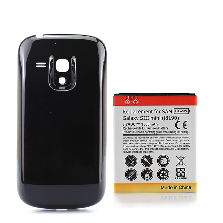 For Samsung Galaxy SIII S3 Mini <font><b>i8190</b></font> Extended Backup 3500mAh <font><b>Battery</b></font> Replacement Li-ion Batteria+ Black Back Cover image