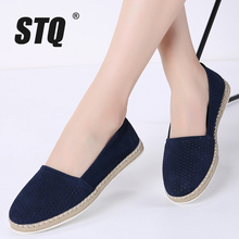 STQ 2020 Autumn Women Loafers Shoes Suede Leather Slip On Ladies Casual Flats Shoes Mocassins Creepers Oxfords Shoes Woman 7023