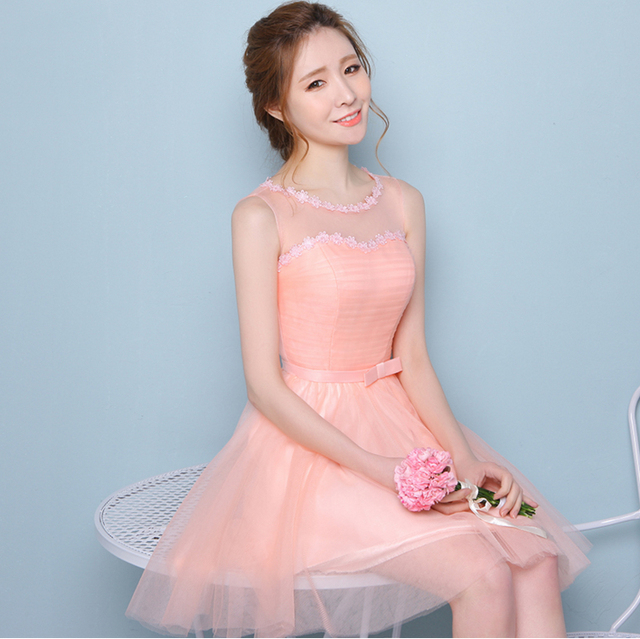 country style peach short bridesmaid party dress 8 brides maid ...