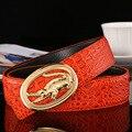 2017 Nuevo Diseñador de la Marca Para Hombre Cinturones Cinturón de Grano Del Cocodrilo Del Cuero Genuino de la Vaca de la Alta Calidad de Lujo de Negocios Para Los Hombres Freeshipping