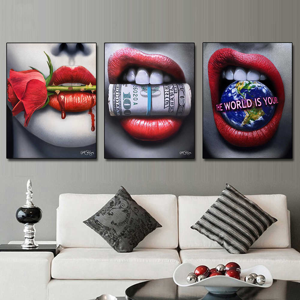 Abstract Woman Sexy Red Lips Posters Flower Money Posters Print on Canvas Wall Art Picture for Living Room Home Decor No Frame