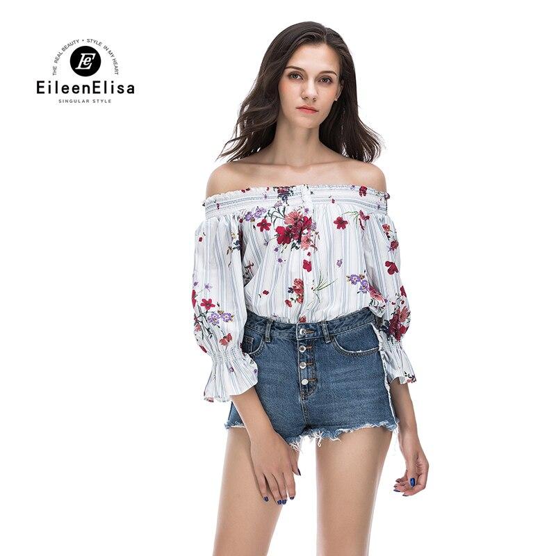 Eileen Elisa devant bouton Blouse Floral 2017 mode sans bretelles hors épaule Slash chemises femmes