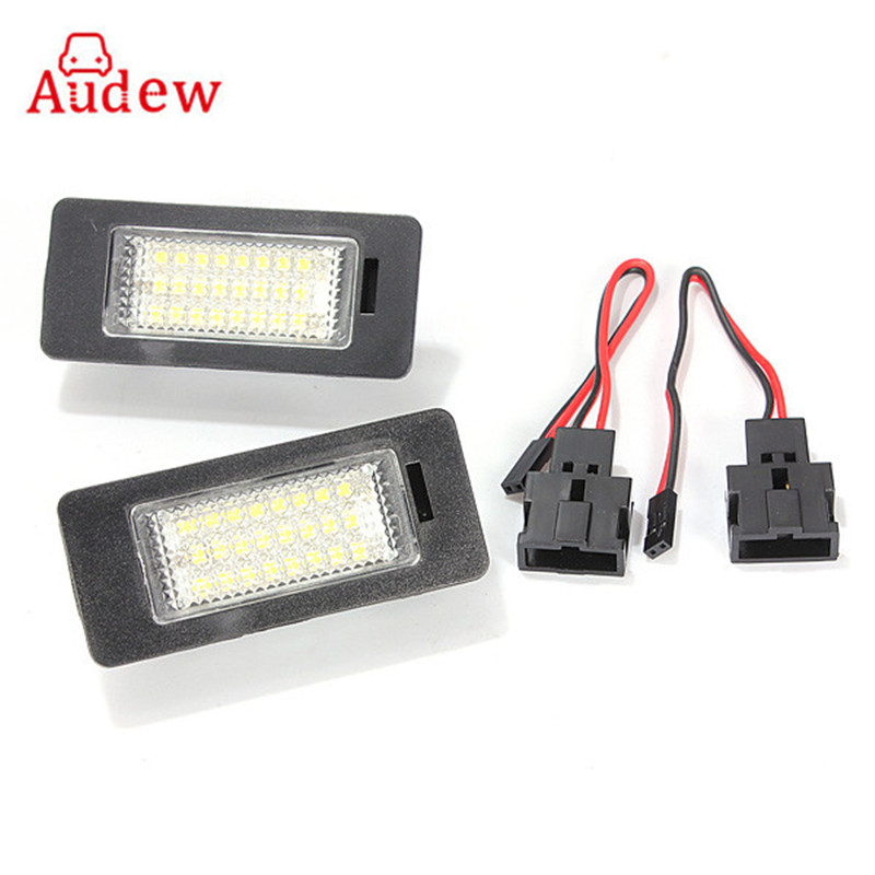 24 LEDs Car License Plate Light Number Plate Lamp 9-14V For Audi TT Q5 A4 A5 S5 For VW/Passat R36 2008 1 pair car led license plate lights for audi a4 canbus led number plate light lamp bulbs for audi q5 a4 tt tts ttrs a5 a6 a7