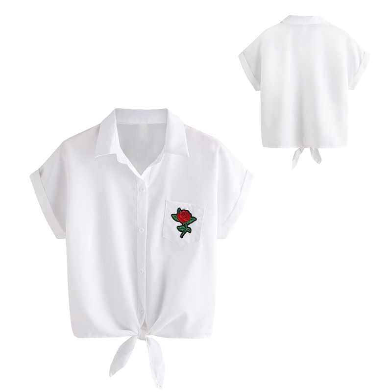 Zomer Korte Dame Blouse Shirts Fashion Bloemen Borduren Vrouwen Shirt Solid Casual Vrouwelijke Korte Mouwen Tops