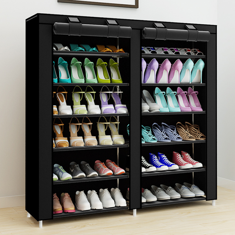 43 Inch 14 Grids Double Rows Shoe Organizer Space Saving Assembly Large Capacity Storage Cabinet Multifunctional