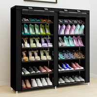 43 Inch 14 Grids Double Rows Shoe Organizer Space Saving Assembly Large Capacity Storage Cabinet Multifunctional Shoe Rack